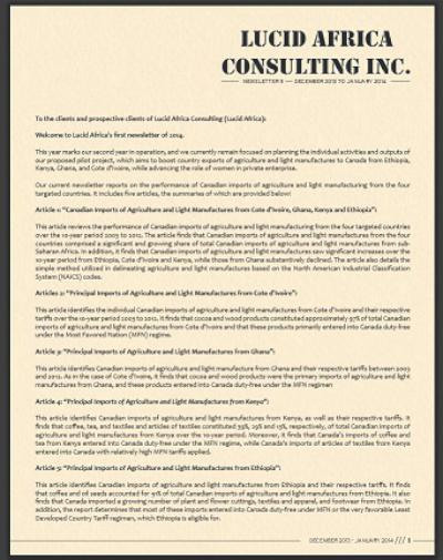 Lucid Africa Consulting Inc. Quarterly Newsletters